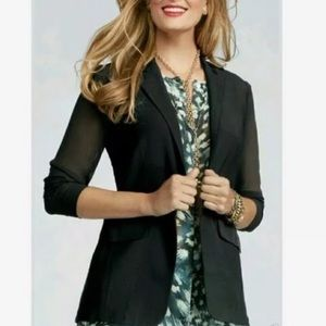 CAbi Chic Jacket with Sheer Sleeves